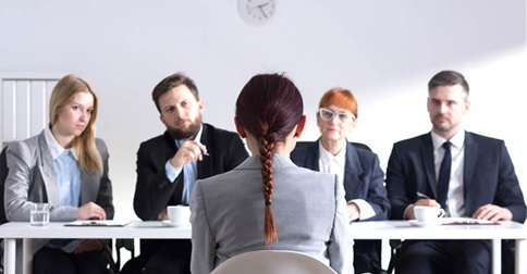 Young lady during job interview