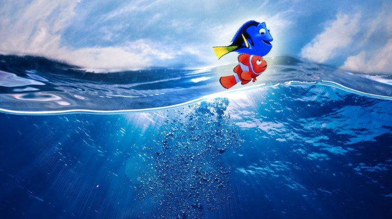 Dory and Nemo Swimming in the ocean