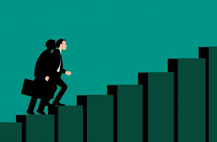Business Man Climbing Growth Stairs