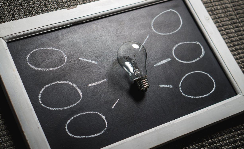 Light bulb in a chalk board