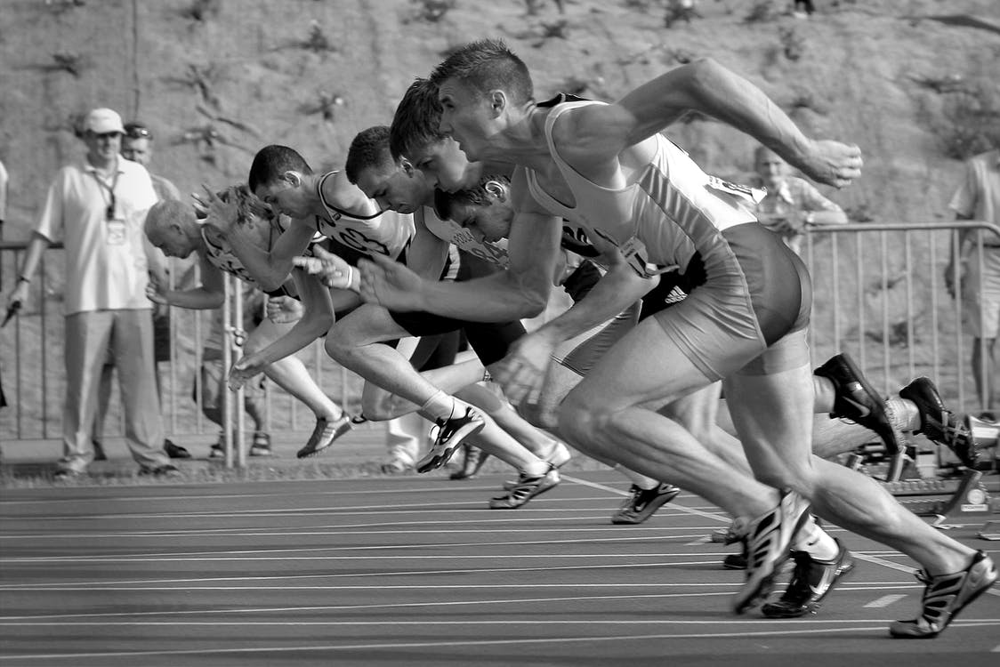 Athletes running competition