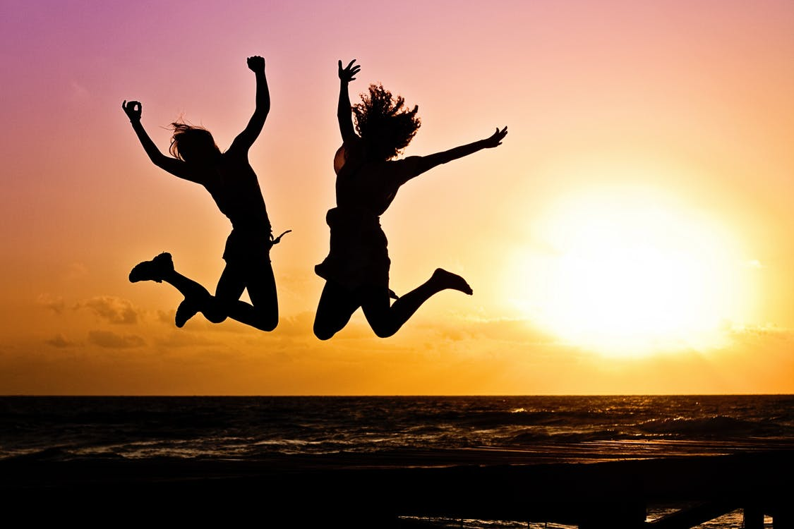 Youth Jumping Happily