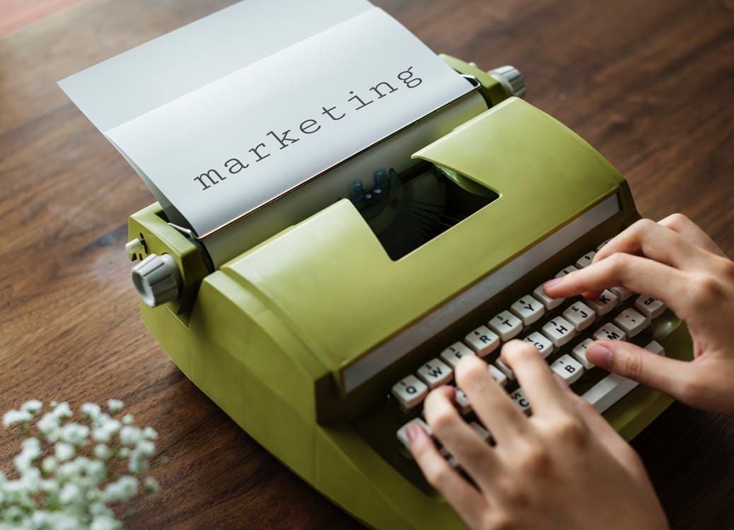User typing on a typewriter
