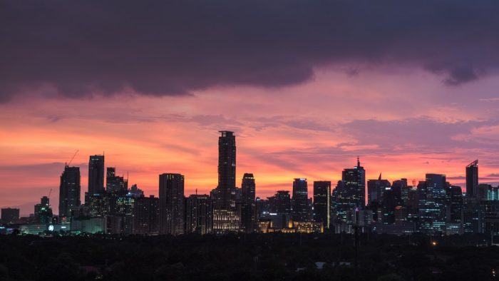 city and sunset