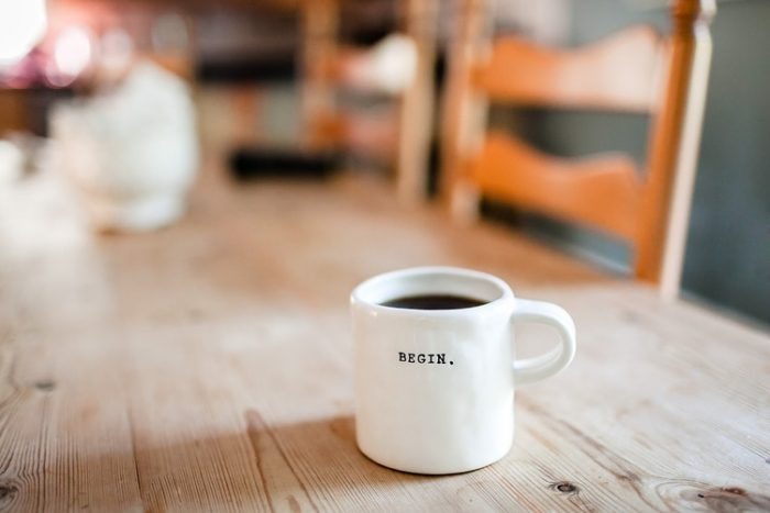coffee cup begin