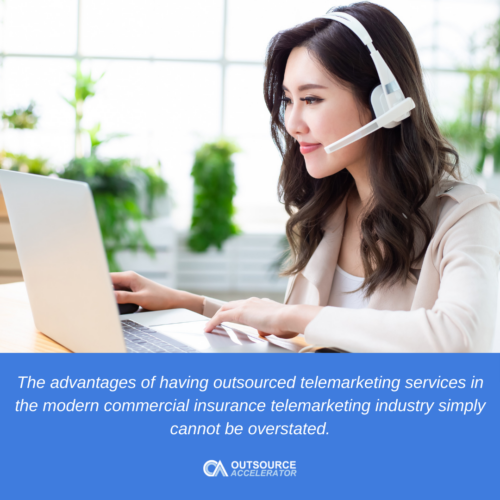 a woman infront of the laptop working in insurance telemarketing