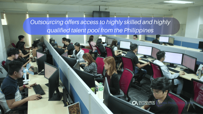Outsourcing offers access to highly skilled and highly qualified talent pool from the Philippines