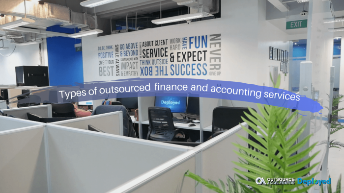 Types of outsourced finance and accounting services