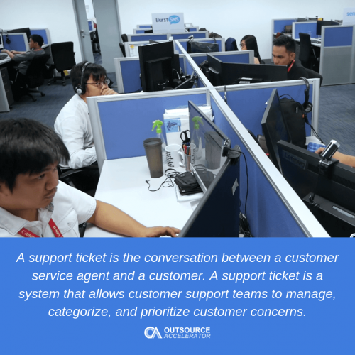 Outsourcing support ticket