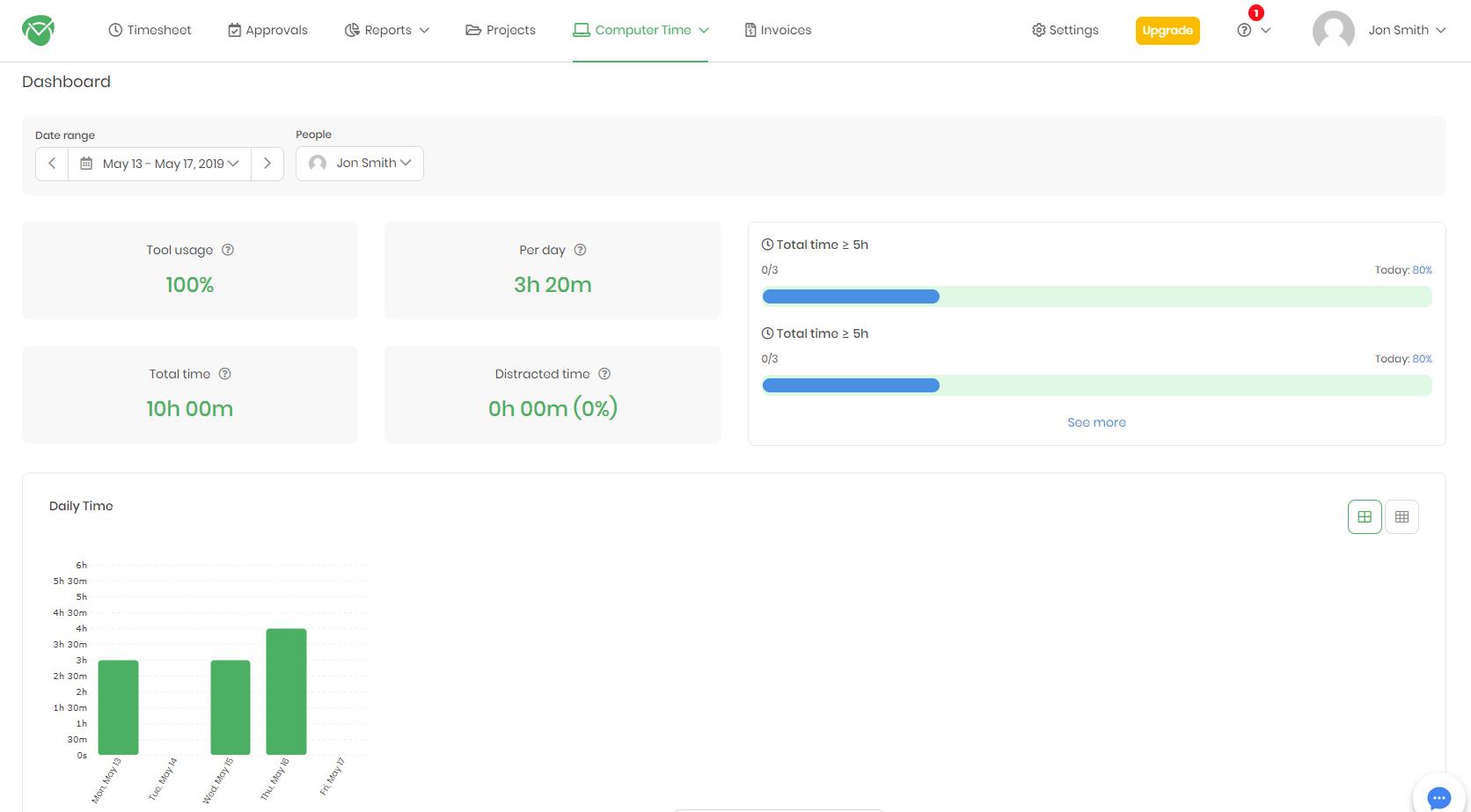 TimeCamp Dashboard