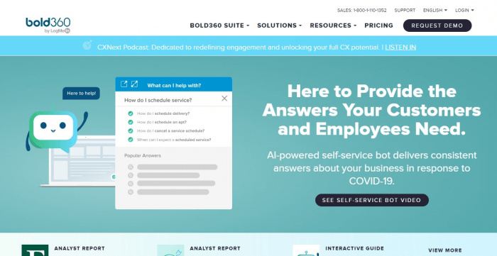 Bold360 homepage
