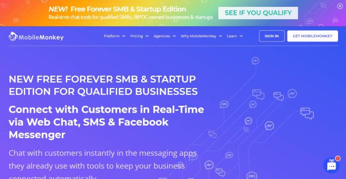 MobileMonkey homepage