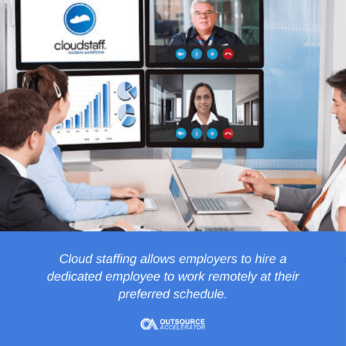 Cloud staffing allows employers to hire a dedicated employee to work remotely at their preferred schedule.