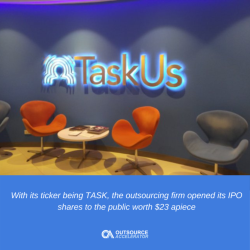 TaskUs went public: IPO shares at $23 each
