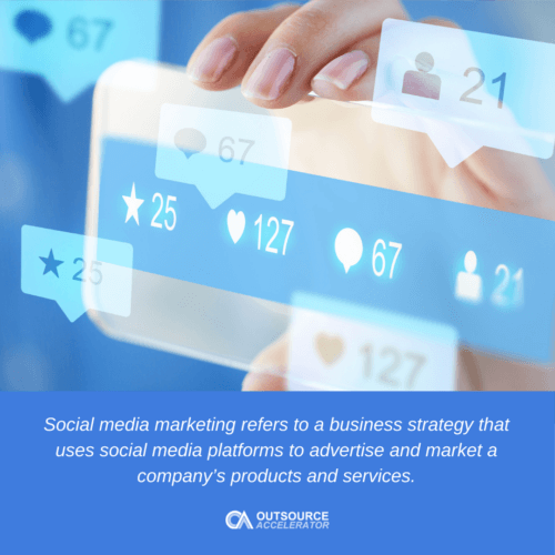 a person using a social media marketing in the phone