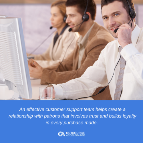 a man with a headset working as a customer service