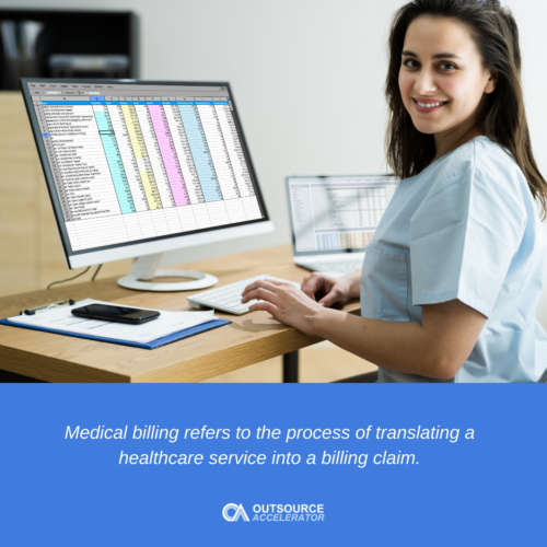 a woman in front of the computer working on medical billing